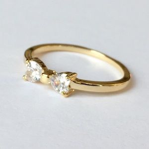 Delicate Gold Diamond CZ Bow Ring Layering Jewelry